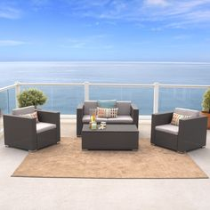 The cushions are only matched in style by the surrounding PE Wicker. The table even features a removable lid that reveals inside ottoman storage space. This generous set fits up to 4 adults comfortably and adds the perfect elegance to your outdoor space.