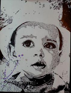 Portrait à l'encre de chine. Outils : Pinceau et cure-dent Support : Papier coton/bambou Vidéo de l'évolution ici : https://www.youtube.com/watch?v=ANuQVrgyK_Y