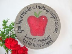 Personalized teacher gifts! Add names and dates! Personalized Memorial Gifts, Bridesmaid Wine Glasses, Memorial Garden Stones, Apple Gifts, White Gift Boxes, Retirement Gifts, Garden Gifts, Red Apple, Flower Designs