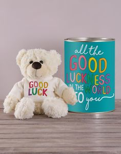 Your loved one deserves better than a simple 'Good Luck' text, they deserve all the good luckness in the world, so send them this adorable teddy tin! Whether you want to send a cute St Patrick's Day gift or wish them good luck for an upcoming test, interview, or date, this cute teddy is the ultimate good luck gift! Pink Happy Birthday, Happy Birthday Candles, Happy Birthday Balloons, Exam Good Luck Quotes, Good Luck For Exams, Lucky To Have You, Owl Always Love You, 21 Balloons, All The Best Wishes