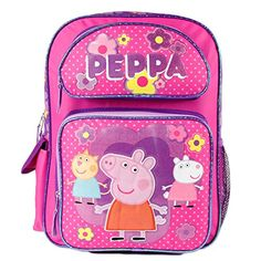 Buy 12 inches Peppa Pig Pink Backpack 3 Characters on the Front Toddler Backpack, Small Backpack, Girl Backpacks, School Backpacks, Pink School Bags, Pig Girl, Personalized Backpack, Backpack Reviews, Peppa Pig