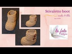 Tutorial: stivaletto neonata all'uncinetto - YouTube