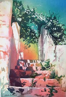 Spanish Stairs by Leslie Redhead - Poured Watercolor