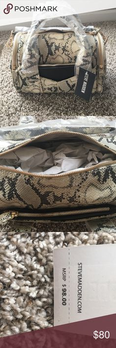 *FIRM* Steve Madden purse It's brand new paid over $100 with taxes. Steve Madden snake skin print purse with matching wallet. Brand new still has clear packaging on it. Long straps to carry as Cross body or shoulder and short handles to carry with hands or on arm. no trades Steve Madden Bags