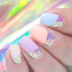 Broken Glass Nail Art (shattered glass nail art) step by step video tutorial. Nail art design made with an iridescent foil. Cute Nail Art, Cute Nails, Pretty Nails, Diy Unicorn, Unicorn Nails, Irridescent Nails, Nail Lab, Nail Art For Kids, Indigo Nails