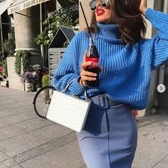 New royal blue turtleneck jumper sweater knit pullover autumn fall plus size Fall Winter Outfits, Winter Fashion, Sweater Outfits, Cute Outfits, Royal Blue Outfits, Azul Indigo, Blue Pencil Skirts, Turtle Neck, Snow White
