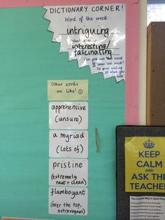 The most-used corner of Miss_RQT's classroom. New and exciting words to learn… English Classroom Displays, Teaching Displays, Class Displays, Classroom Displays Primary Working Wall, Classroom Displays Secondary, Primary School Displays, Classroom Display Boards, Bulletin Boards, Literacy Display