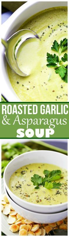 Roasted Garlic and Asparagus Soup - Deliciously creamy, yet healthy and easy to make. I would substitute non-dairy milk to make vegan