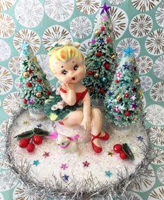 Vintage  Christmas  Music Box.. Lefton Miss Mistletoe.. Super Sweet + Ooak!!!
