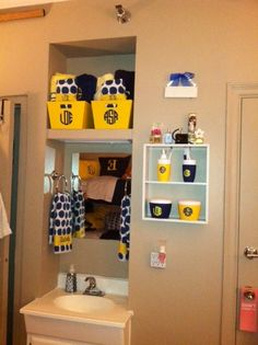 Sink area! Label the crates with yours and your roommates names to know whose stuff is whose!