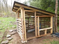 Pallet chicken coop: Roof is on of junk pile plywood and front is framed in. Opening for nest boxes.
