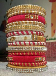 To order WhatsApp 9442146383 Silk Thread Bangles Design, Silk Bangles, Silk Thread Earrings, Thread Jewellery, Paper Jewelry, Jewelry Rings, Beaded Necklace Patterns, Jewelry Patterns, Bangles Making