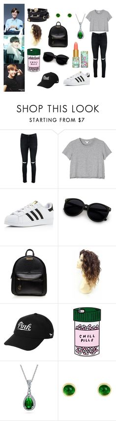 J-Hope Inspired Outfit by jackie-belle81 on Polyvore featuring Monki, Boohoo, adidas, Bling Jewelry, Latelita, ban.do, Victoria's Secret, tarte and Versace