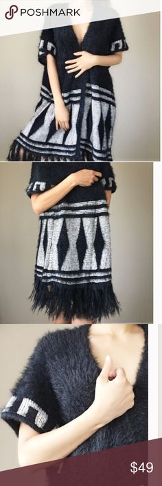 Soft Open Front Fuzzy Maxi Kimono Sweater Cardigan ❤️True One Size Fits All Best 0-12 Oversized Diamond Printed Black & Whitish Silver Grey Maxi Open Front Soft Cashmere Like Fuzzy Sweater Kimono Cardigan With Fringy Feathers Adorning The Bottom Hemline❤️ 🚫No Trades Price Firm🚫 Jackets & Coats