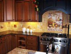 Love the mosaic above the stove!