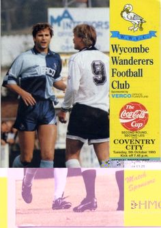 5 October 1993 v Wycombe Wanderers FL Cup Round 2 Leg 2 Lost 2-4 (after extra time)