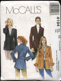 McCall's+Sewing+Pattern+4194+Misses+Size+6-12+Lined+Button+Front+Wide+Lapel+Jackets