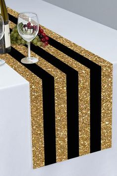 Wedding and party backdrops, table cloths and table runners. www.backdropoutlet.com  PTR122 Black and Gold Stripes Printed Cloth Table Runner - Backdrop Outlet