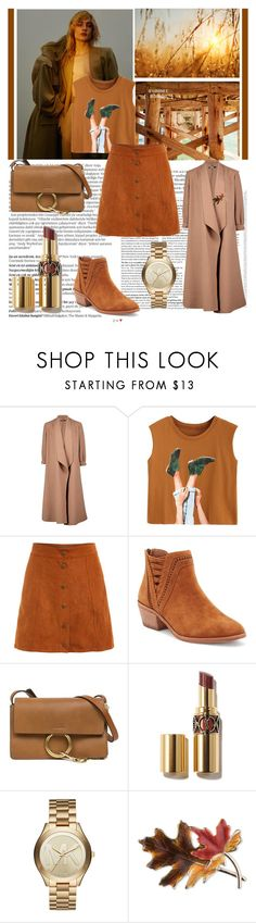 """Coffee Shades: Fall Outfit"" by alexandrabianca-1 ❤ liked on Polyvore featuring Balmain, Boohoo, Vince Camuto, Chloé, Michael Kors, Anne Klein, Fall, outfit, brown and coffee"