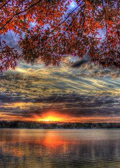 Red Fall Leaves Sunset, Lake Oconee, by Reid Callaway