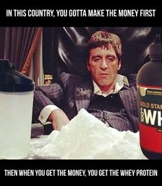 """In this country, you gotta make the money first. Then when you get the money, you get the whey protein. Exercise Humor, Gym Humor, Workout Humor, Whey Protein, Fun Stuff, Money, Country, How To Make, Fictional Characters"
