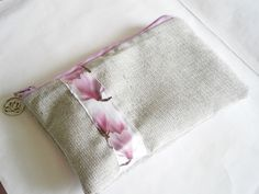Lilac Magnolia Pouch -  Card Holder - Upcycled Purse - Coin Zipper Pouch - Change Purse - Vegan - Sustainable Fashion - Travel Pouch - Gray Color Tag, Cosmetic Pouch, Viscose Fabric, Change Purse, Fabric Samples, Grey Fabric, Zipper Pouch, Flower Patterns, Travel Style