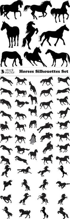 Vectors - Horses Silhouettes Set