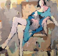 "Gary Bodner, ""Lounging"", Oil on Canvas, 36x36 -Anne Irwin Fine Art"