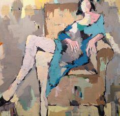 "Gary Bodner, ""Lounging"", Oil on Canvas, 36x36 -Anne Irwin Fine Art"