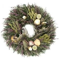 """Low Country 22"""" Wreath.  Living on the Bayou or the Shore you will find our Low Country Crab Designs to be fun and festive. Designed around natural grasses, natural sea shells and real looking crabs. But don't boil these Crabs as they are for decoration only."""