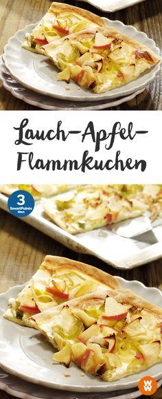 Lauch-Apfel-Flammkuchen | 12 Portionen, 3 SmartPoints/Portion, Weight Watchers, fertig in 65 min.