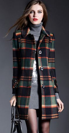 Basic is always classic, especial this Elegant Tartan Plaid Turn-Down Collar Coat, stock it up for upcoming winter.