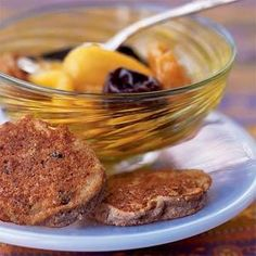 Passover Chremslach with Mixed Fruit Compote | MyRecipes.com