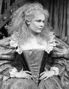 Judi Dench as Tytania in the Royal Shakespeare Company production of Midsummer Night's Dream designed by Lila de Nobili. Tytania was given Elizabethan finery but had bare feet - like a doll with attitude.