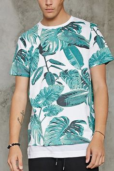 2e1d4a6862c Tropical Leaf Print Tee Hipster Fashion