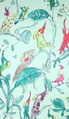 Cockatoos Wallpaper Wonderful Quentin Blake designed wallpaper of Cockatoos in all colours on an aqua background