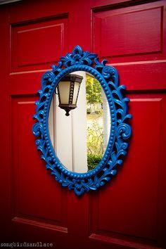 Vintage Ornate Mirror-Upcycled in Cobalt Blue