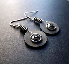 Gear Earrings  Stone Sterling Silver by by SimpleElementsDesign, $22.00