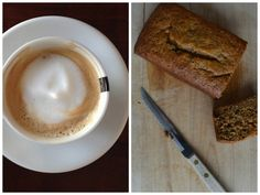 The perfect pre-workout snack: Chocolate Chip Banana Bread and a latte #athletefood #glutenfree #baking
