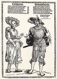 Title: Landsknecht und sein Weib              Tags: Katzbalger, Kuhmaul shoes, Hat, Landsknecht, Halberd, Trossfrau, Armour, Backpack, Stripes, Chainmail              Date: ca. 1535                        Artist: Erhard Schoen              Provenance: Germany              Collection: Kupferstichkabinett:
