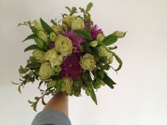 Birthday bouquet of purple green and white My Flower, Flowers, Birthday Bouquet, Purple, Green, Royal Icing Flowers, Flower, Florals, Viola