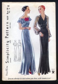 Vintage Sewing Ladies Gown with Neckline Options Sewing Pattern - Simplicity Wedding Dress Sewing Patterns, Vintage Dress Patterns, Vintage Dresses, Vintage Outfits, 1920s Dress Pattern, Barbie Patterns, Vogue Patterns, Vintage Costumes, 1930s Fashion