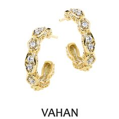 VAHAN earrings made of 14k gold and diamonds. Style # 42859GD #VAHAN #VahanStyle #Earrings #Gold #Diamonds