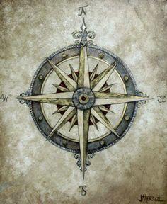 New Vintage Tattoo Nautical Compass Rose Ideas Compass Art, Compass Drawing, Compass Tattoo Design, Pirate Compass Tattoo, Lena Tattoo, I Tattoo, Nautique Vintage, Muster Tattoos, Mariners Compass