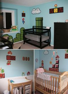 Geek Baby Nursery Decor Nintendo Decals for your kids room, absolutely amazing! mario-bros-furniture-terrific-ideas-to-decorate-a-baby-nursery-super-mario-bros-furniture-for-sale Baby Nursery Bedding, Baby Nursery Decor, Baby Bedroom, Nursery Room, Nursery Ideas, Girl Nursery, Girl Room, Baby Room Themes, Baby Boy Rooms