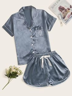 Shop Heart Embroidered Satin Pajama Set at ROMWE, discover more fashion styles online. Cute Pajama Sets, Pajama Day, Cute Pjs, Cute Pajamas, Pajama Outfits, Lazy Outfits, Cute Comfy Outfits, Cool Outfits, Pajama Shorts