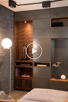 unit design With Wardrobe Wardrobe Design Bedroom, Bedroom Cupboard Designs, Bedroom Bed Design, Bedroom Furniture Design, Living Room Designs, Home Office Design, Home Interior Design, House Design, Modern Small Apartment Design