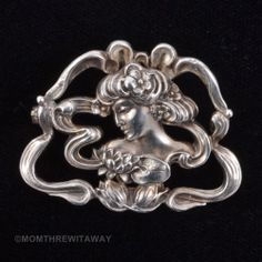 Vintage Art NOUVEAU Sterling BROOCH Beautiful Woman Lily Floral Pin Flourishes #Jewelry #Deal #Fashion