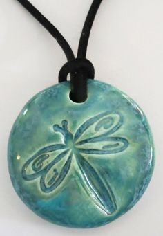 DRAGONFLY Pendant / Necklace Ceramic by InnerArtPeace on Etsy
