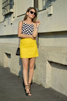 BRIGHT YELLOW SKIRT www.ellysa.it #skirt #summer #yellow #pois #polkadots…